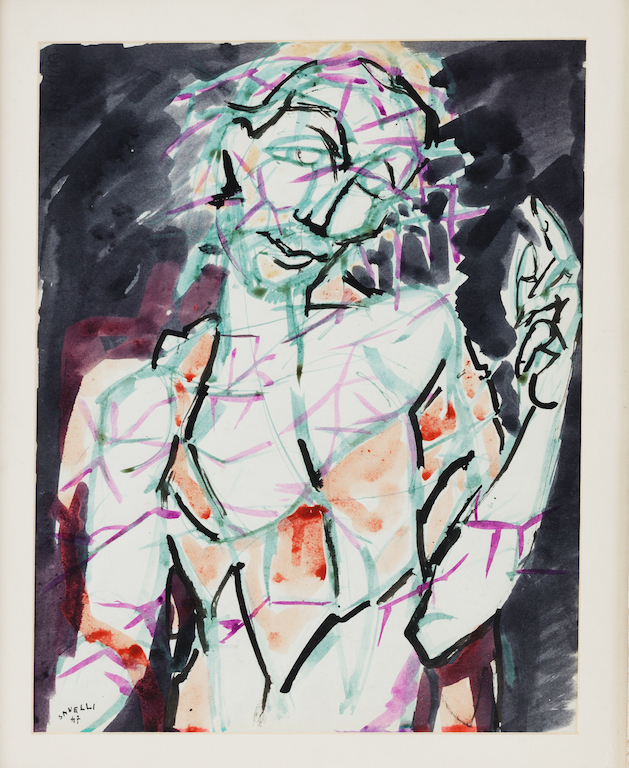 """Ecce Homo"" - 1947. Acquerello su carta, cm 55 x 46 - ""Ecce Homo"" - 1947. Watercolor on paper, cm 55 x 46"