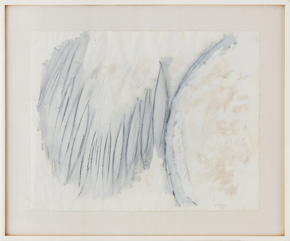 New York, 1960 - Acquarello, pastello e sabbia su carta. Watercolor, pastel and sand on paper, cm 45 x 58